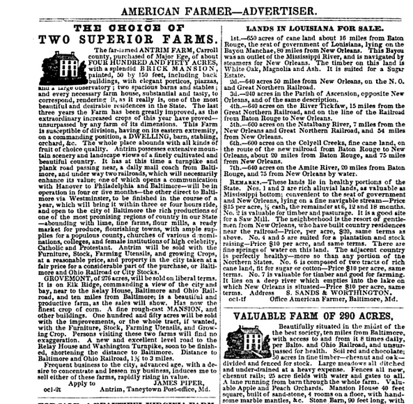 An advertisement for the sale of Antrim Farm from the 1857 edition of The American Farmer.