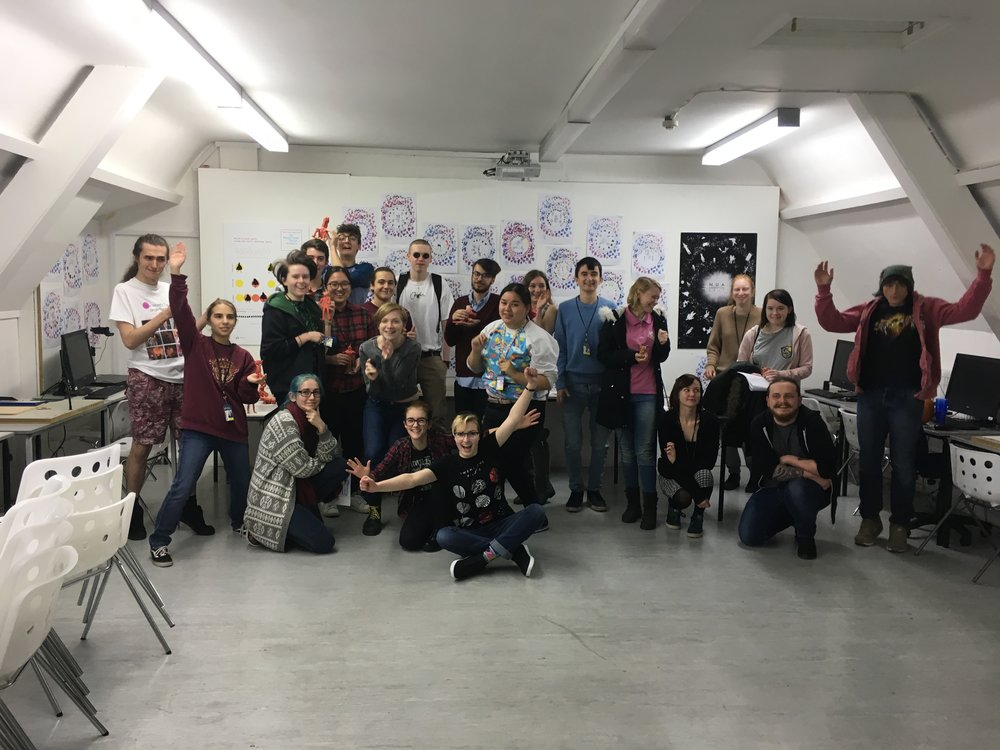Over excited Year 1 students after a character design masterclass.