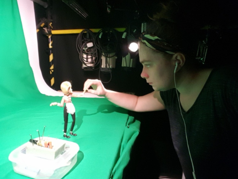 Kaitlin, hard at work in the Stop Motion Production Studio.
