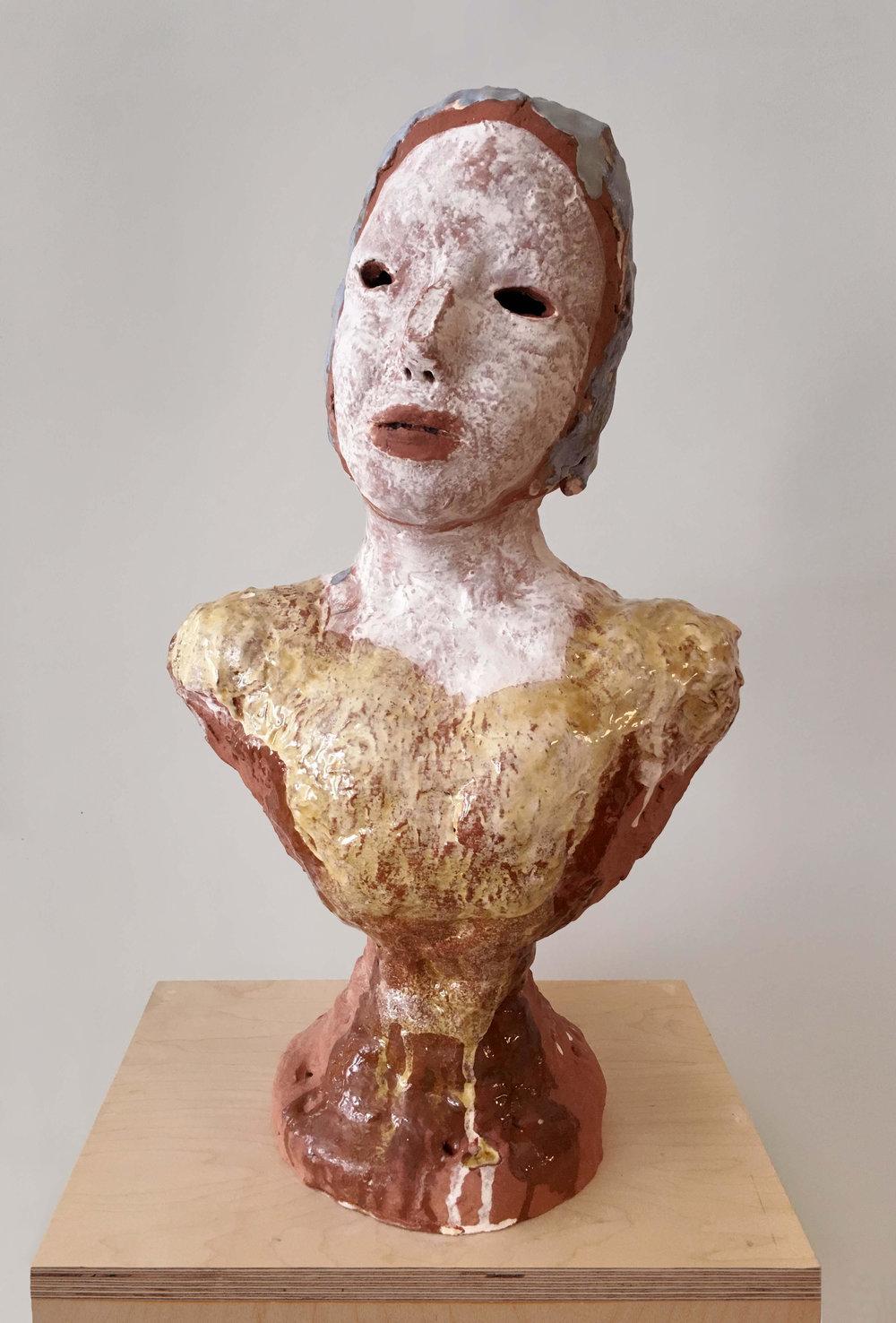 """Terracotta Portrait Bust with Princess Neckline, 2016, ceramic, 22.5'X12.5""""X7"""" (Photo by Alan Wiener)"""