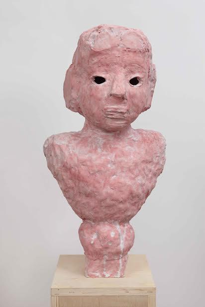 "Pink Portrait Bust with Almond Eyes, 2014, ceramic, 22""x12""x9"" (Photo by Alan Wiener)"