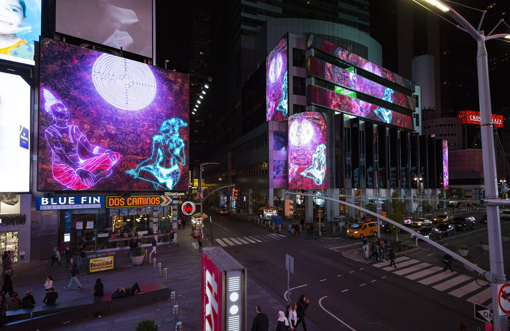"""Ganesh's November 2018 """"Midnight Moment"""" in Times Square.  Chitra Ganesh;  Rainbow Body ; 2018; digital animation; two minutes, seven seconds; dimensions variable; courtesy of the artist, animated and developed with the STUDIO NYC. Image courtesy of Ka-Man Tse for Times Square Arts."""