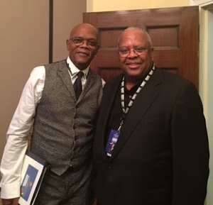 "Just for Fun: Fred with Samuel L. Jackson at the 2016 PBS special for the Library of Congress ""Gershwin Prize,"" honoring Smokey Robinson."