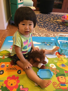 Najin's daughter, Christina trying to ride a stuffed horse
