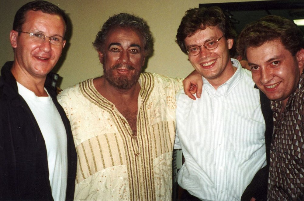 Musicians celebrating with Domingo after a performance of Otello on the Japan tour