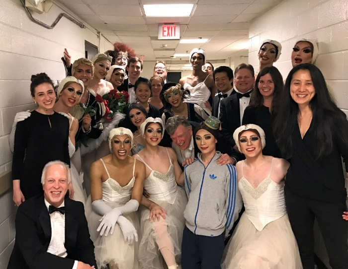 Musicians with dancers of Les Ballets Trockadero de Monte Carlo