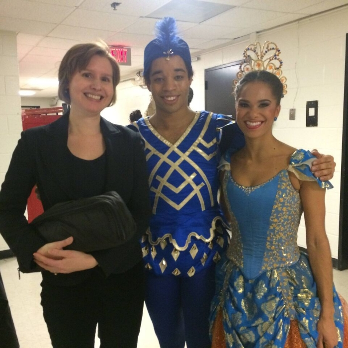 Principal Flutist Adria S. Foster with Misty Copeland and Gabe Stone Shayer after a performance of Sleeping Beauty