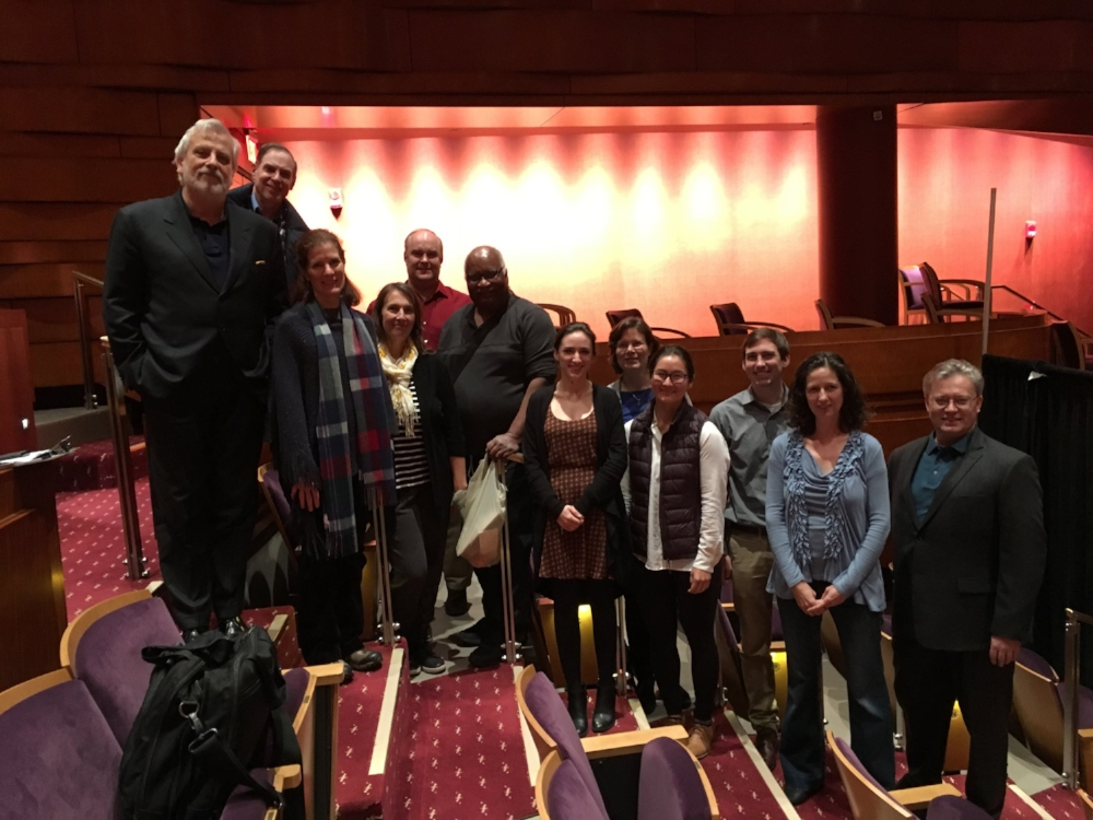 The committee and Maestro Auguin congratulating the Assistant Principal Viola audition winner Elizabeth Oka (fourth from right)