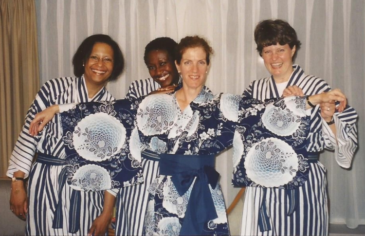 Ladies from the violin section in kimonos