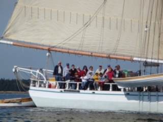 Family Picture on Schooner Isaac Evans off the                                   coast of Maine.