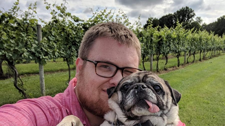 Doug with his pug Jake