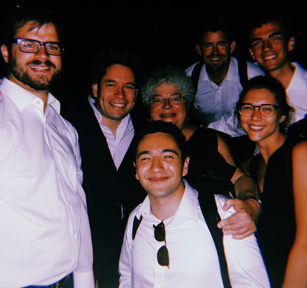 Nathaniel and Juilliard horn players with teacher Julie Landsman, and Gustavo Dudamel after a Mahler 2 performance at Music Academy of the West.