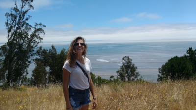 Happy Sophie in Bolinas, CA.