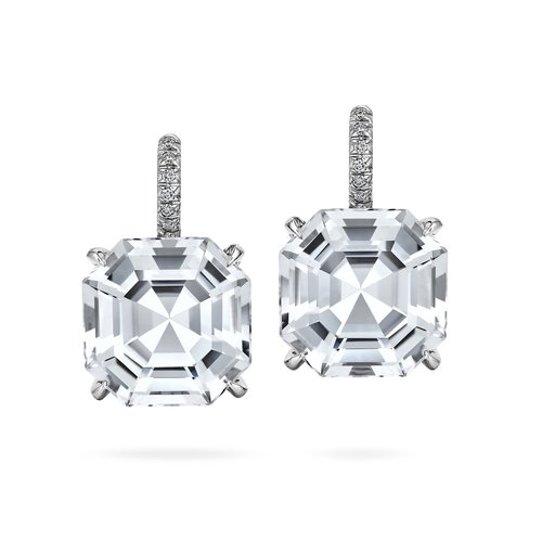 c0db57068 Asscher Cut Medium Size White Topaz Diamond Drop Earrings. 14628r.jpg