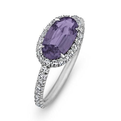 Oval Cushion Cut Lavender Spinel Diamond Platinum Ring