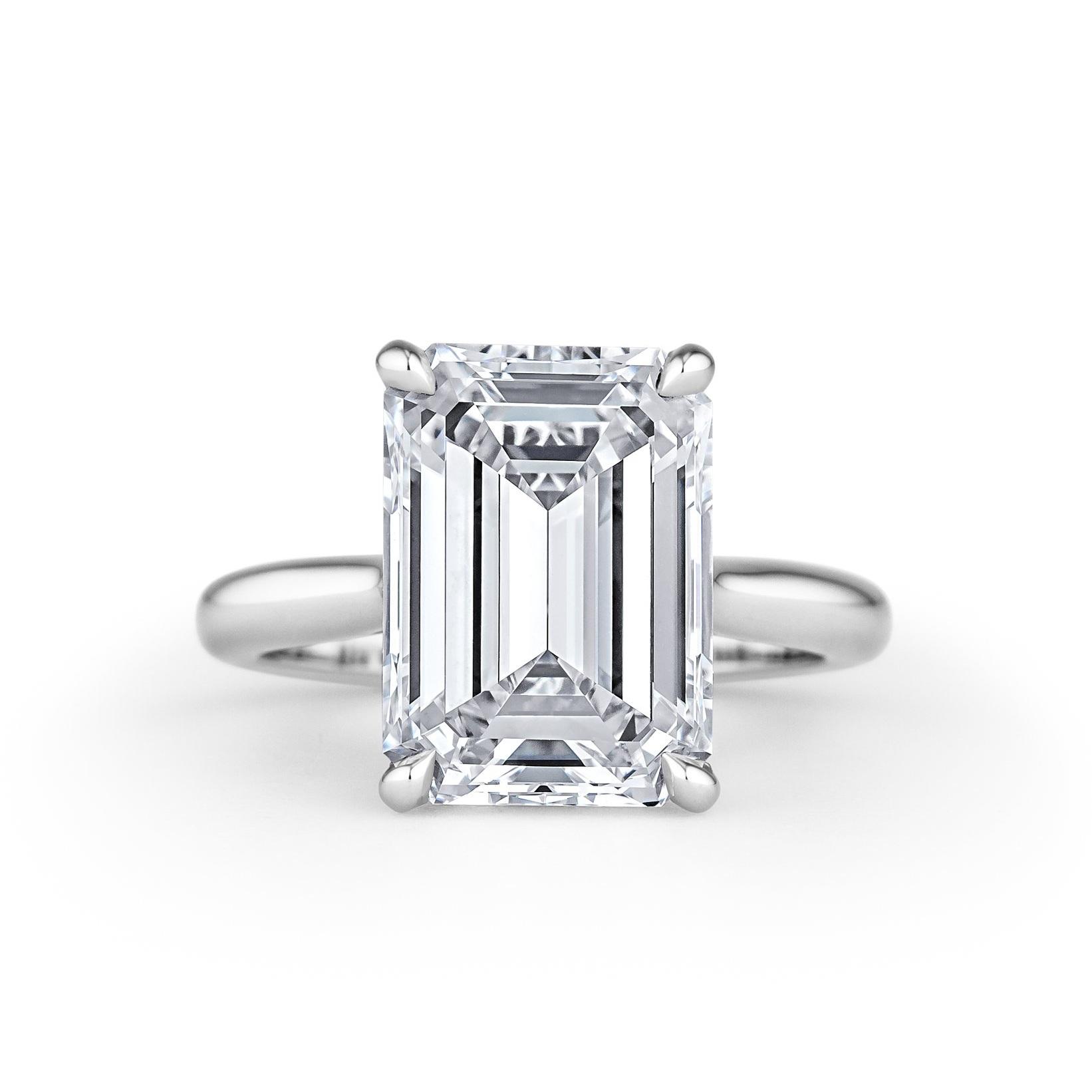 Cut Emerald Diamond 6 Platinum Ring 41 Carat Engagement FcKTl1J