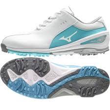 Mizuno Nexlite SL Ladies Golf Shoes - White:Sax sole.png