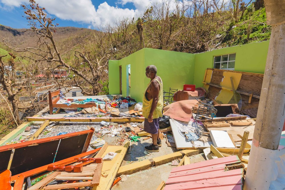 Saint Joseph, Dominica - Efrade Christopher stored whatever he could salvage under the cement foundation of what used to be his home.