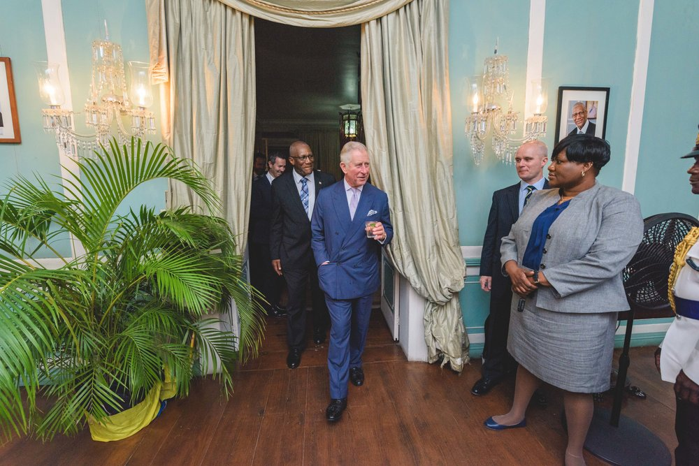 St. John's, Antigua - Prince Charles of Wales arrives on November 18th, 2017 in the Caribbean to asses the damage from Hurricanes Maria and Irma.