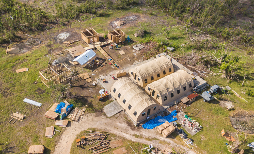 Codrington, Barbuda - A command base is constructed to build temporary housing and distribute tarpaulin for the island's residents.