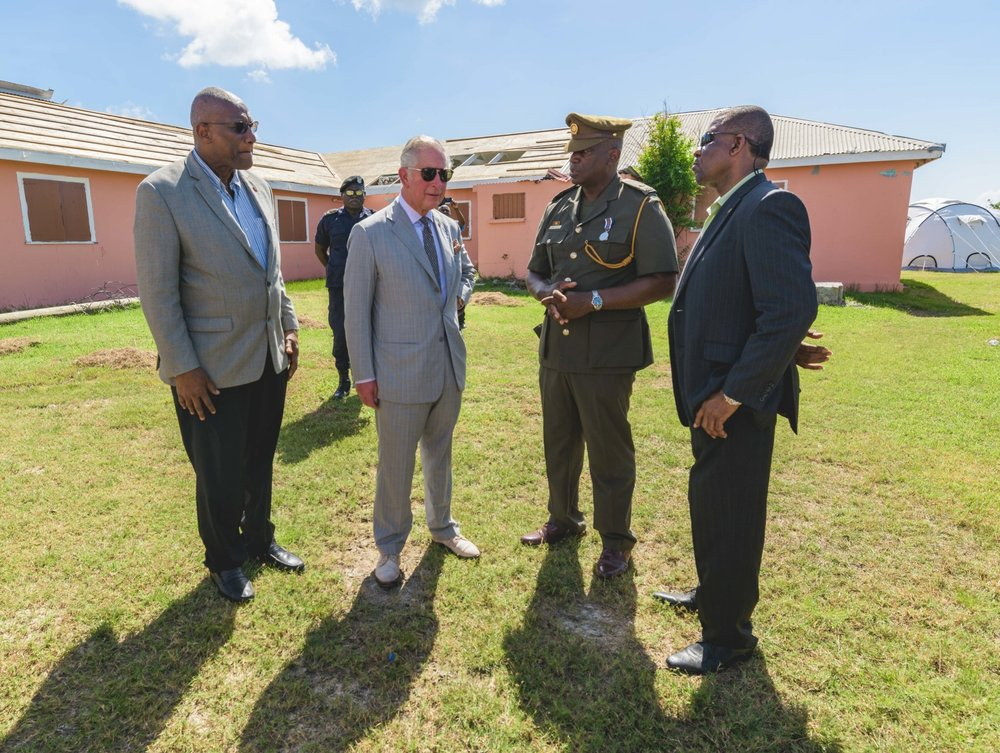 Codrington, Barbuda - Prince Charles and leaders from Antigua and Barbuda discuss relief for the island, where only about 100 of the island's 1,700 residents remain.
