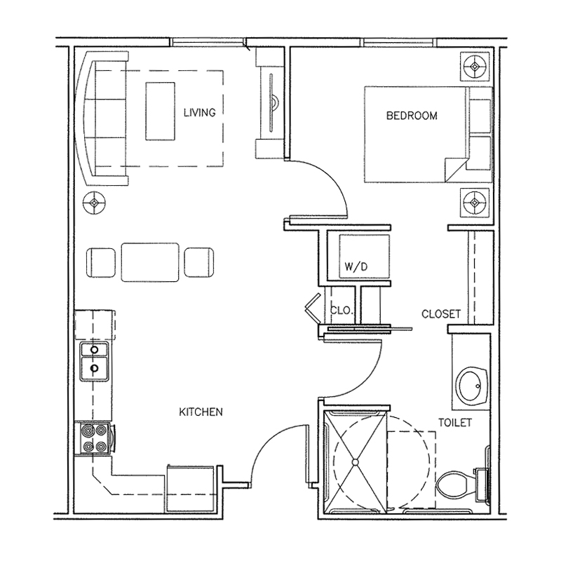Westfield | 1 bedroom | 526 Sq. Ft.
