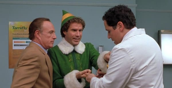 Jon Favreau appearing in his movie 'Elf' with Will Ferrell [Credit: New Line]