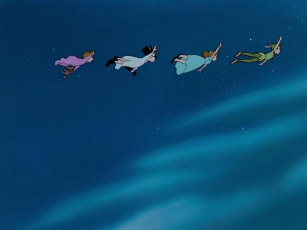Peter Pan and the Darlings flying to Neverland. [Credit: Walt Disney Studios]