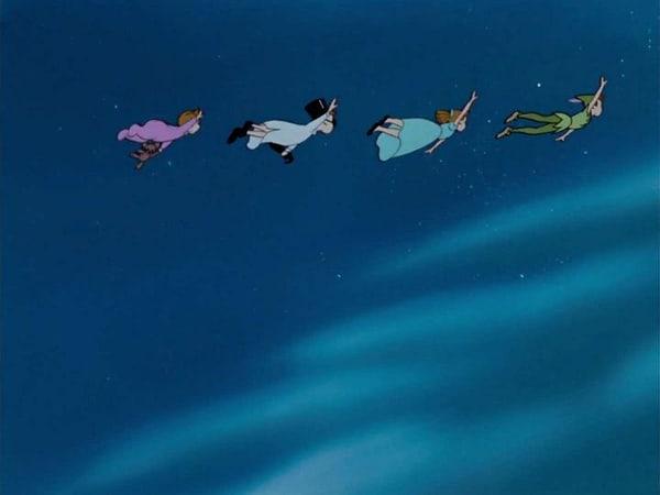 Peter Pan and the Darlings flying to Neverland. [Credit: Walt Disney Studios]
