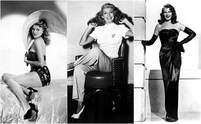 Rita Hayworth posing in several styles. [Source: Marie Claire]