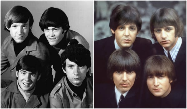 Left: The Monkees / Right: The Beatles [Source: Columbia Pictures Television, Apple Records]