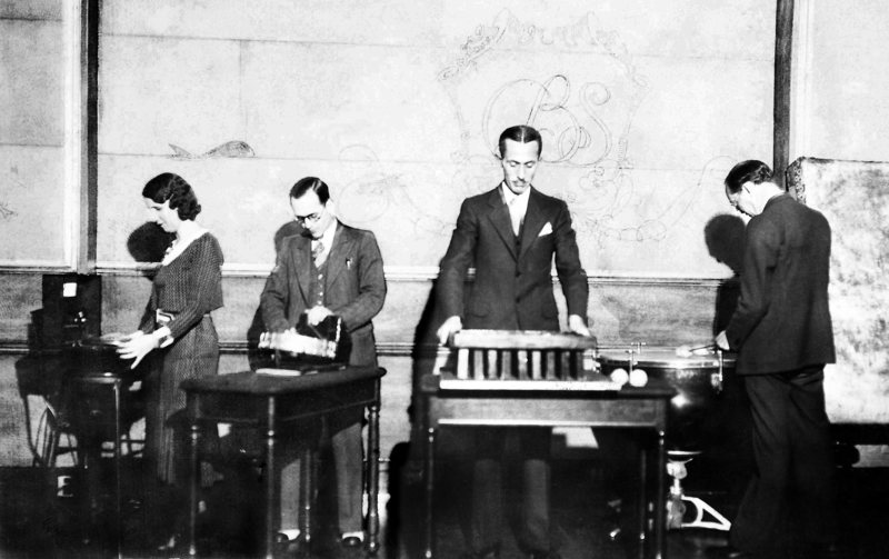 "A sound effects team in 1931 for  CBS  radio series ""The March of Time"". [Source:  Atlas Obscura  / Public Domain]"