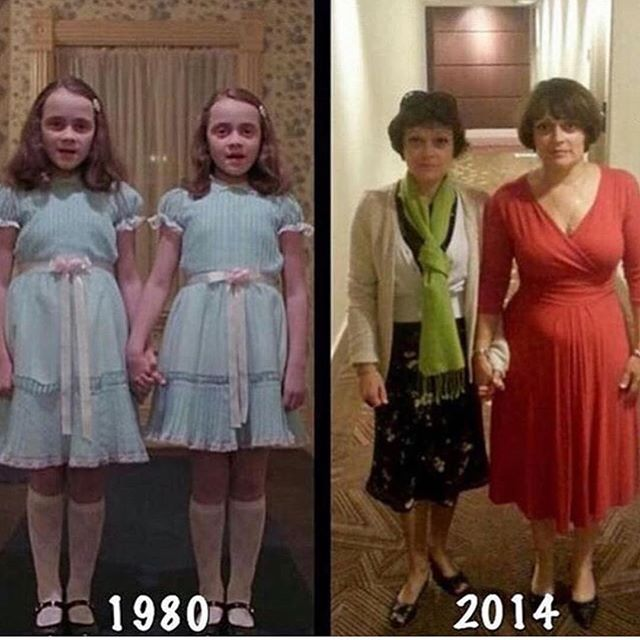 The Grady Twins, then & now. | Who's ready for  #Halloween? If you're looking for some literal killer party games, check out our latest blog. (📸 @cinema.magic) - - #film #films #indiefilm #indiefilms #filmmakers #filmmaker #indiefilmmakers #indiefilmmaker #filmblog #moviecritic #moviereview #moviereviews #movies #movie #classicfilm #comedy #comedyfilm #shortfilm #podcast #podcastrecommendations #podcastrecs #newpodcast #theshining #gradytwins