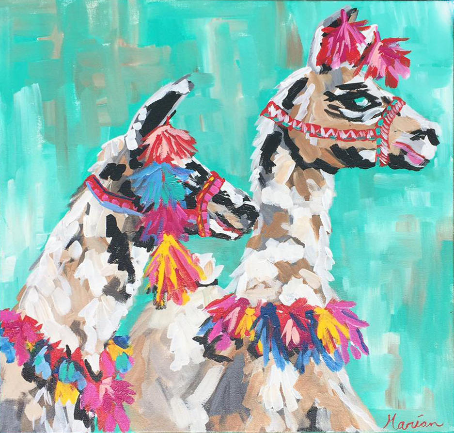 Marian Pouch Art double llamas greenville sc local art.png
