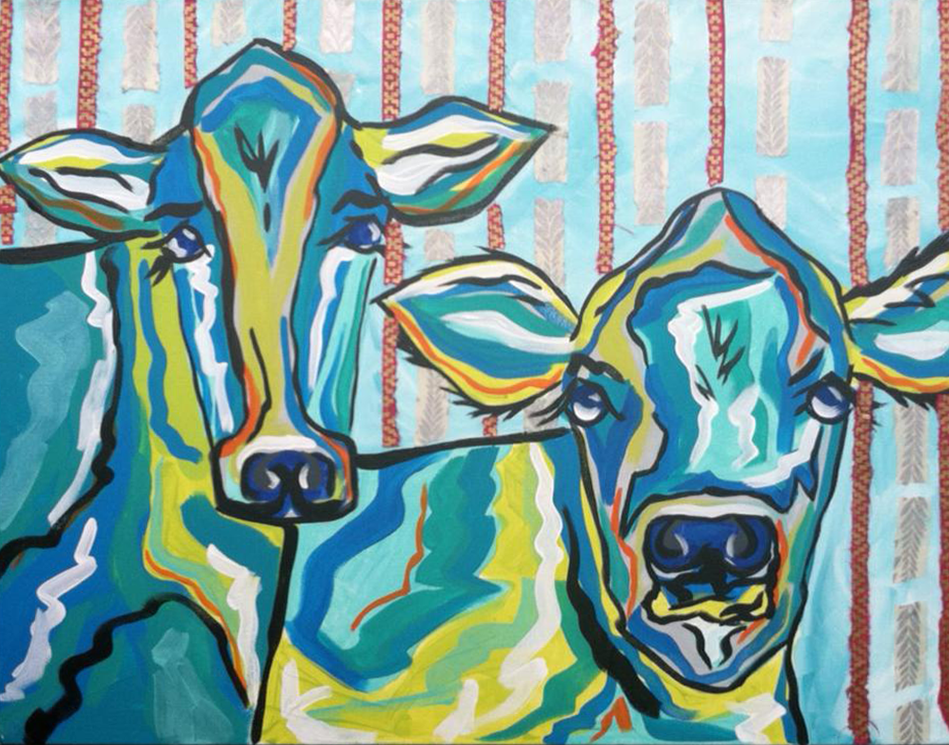 Marian Pouch Art Cows Blue bright greenville south carolina sc.png