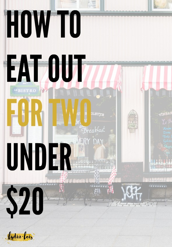 Feel like you can never afford to go out to dinner in your broke twenties? Think you have to spend a lot of money and break the budget for a fun evening out with friends, or a date? Think again! I never spend more than $20 when I go to a restaurant with someone! Click through for my secrets on how to eat out for two under $20! ;)