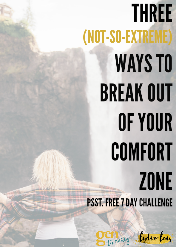 If you have ever felt like your in a slump with no idea how to get out of it, here is a good start. Click through to learn three ways to break out of your comfort zone that aren't too extreme. Plus you'll be able to be apart of a seven day challenge to get you started! Being in your twenties is about taking risks and growing yourself, being out side your comfort zone starts that process! ;)