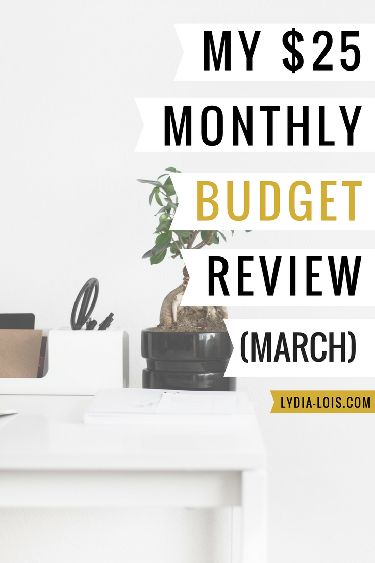 My $25 monthly budget review march.png