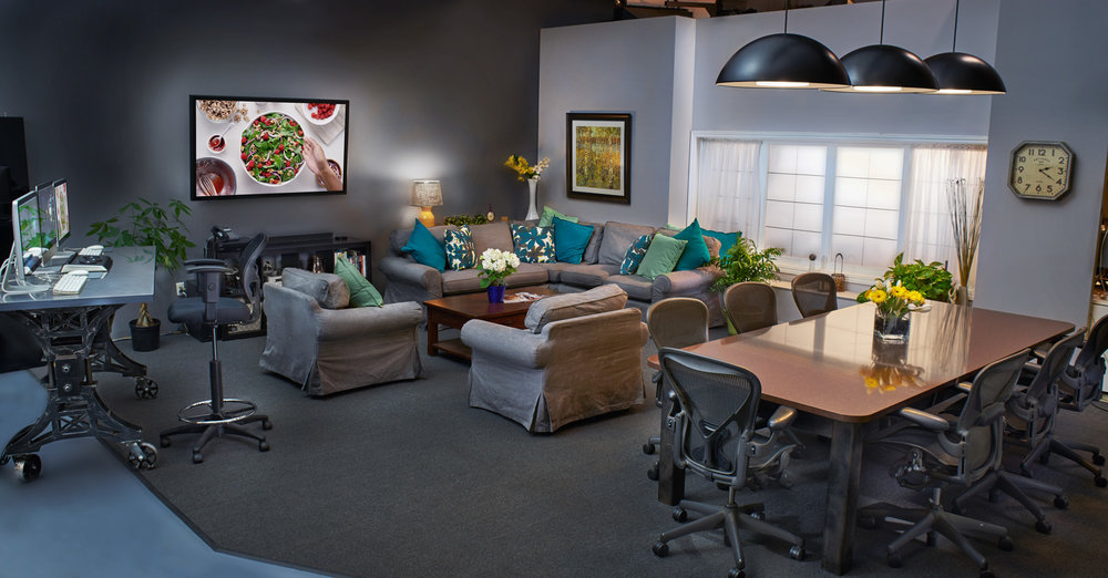 Client lounge - Located right on set, the client lounge is a space designed for your team to settle in, review playback and oversee the creative process in comfort.