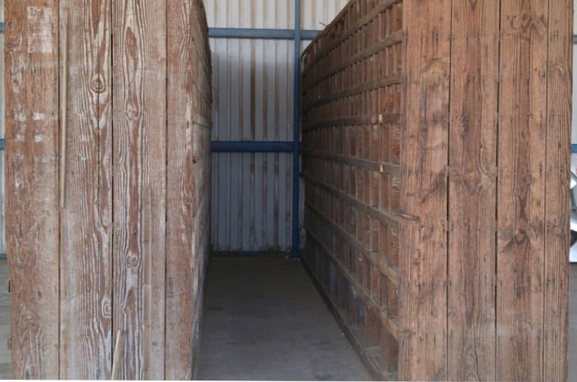 The 70yr old 2 large cubby banks were double sided and numbered. They were 22ft long x 10ft tall. They were used as parts bins from the old Neilson Dairy factory in Phoenix AZ that had been in business since the 50s. Prior to that the cubby banks were from the Smith Pipe and Steel factory established in 1930s in downtown Phoenix. We (just me and Bow) had to disassemble each side and cut them apart in order to make them more manageable to transport and sell. We were able to make 18 large cubbies which took us 3 months.