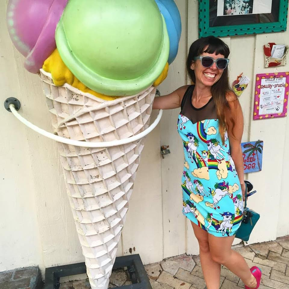 Jessie Moore with a Giant Ice Cream Cone