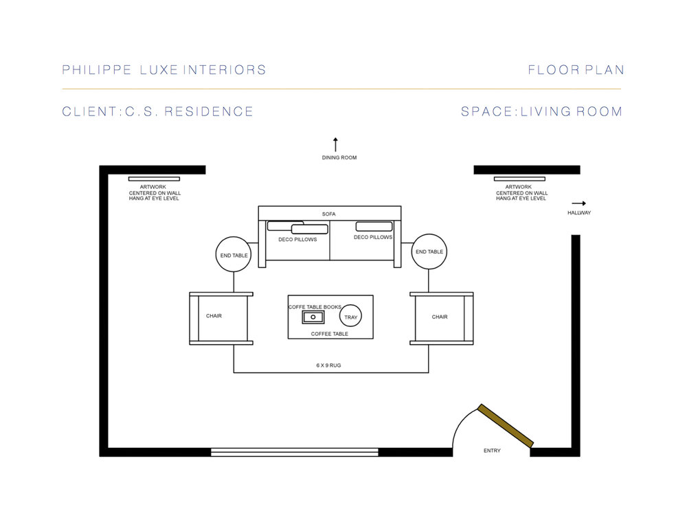 Client Furniture and Floor Plan to Execute Layout of Design