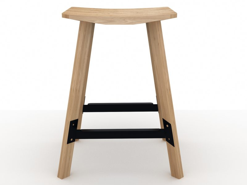 Gud Breakfast stool in solid oak and black lacquered metal joists by Universo Positivo