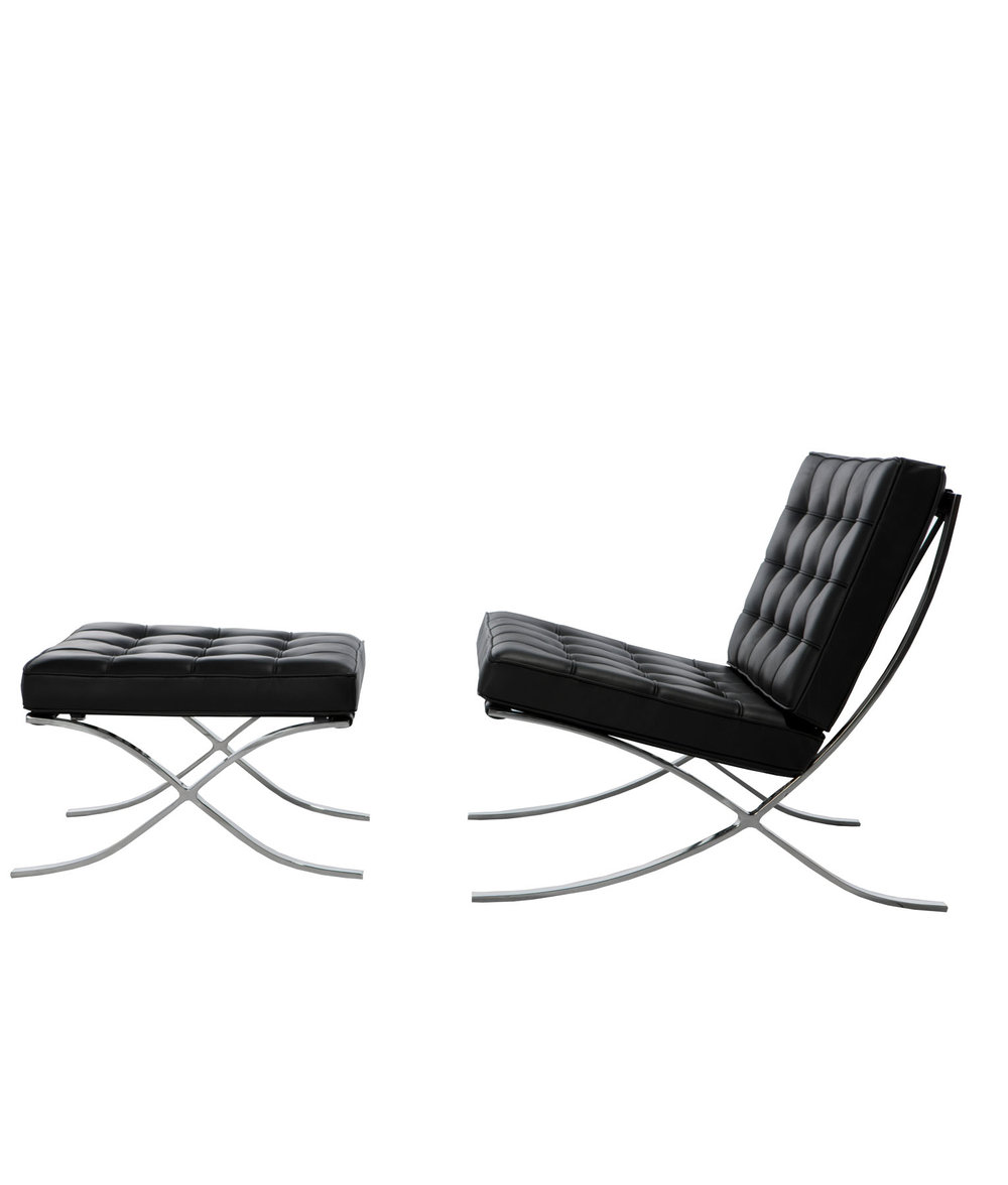 Mies Van Der Rohe Style Barcelona Chair And Ottoman (Ireland Exclusive)