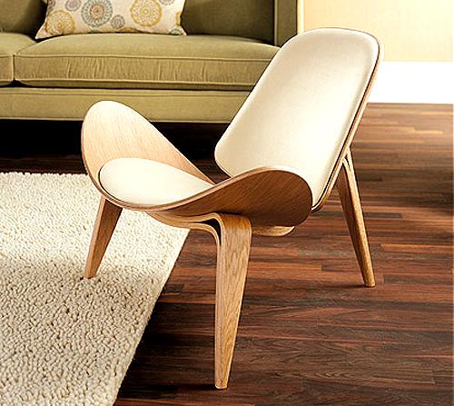 Hans Wegner Style Oak U0026 Leather Shell Chair