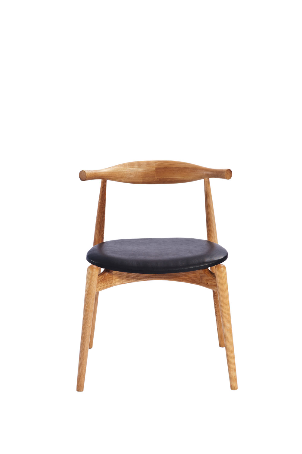 Hans Wegner Style Elbow Oak Chair With Round Black Leather Seat (Ireland  Exclusive)