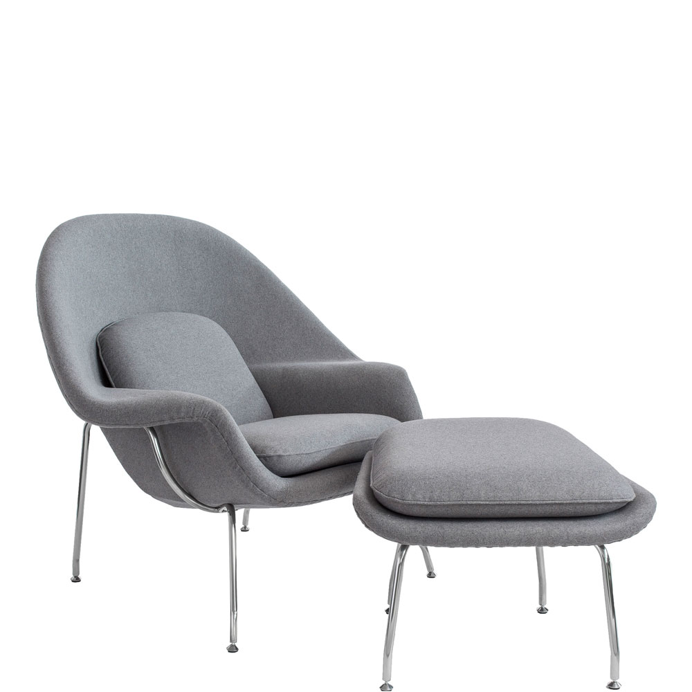 Saarinen Style Womb Chair With Ottoman (Ireland Exclusive)