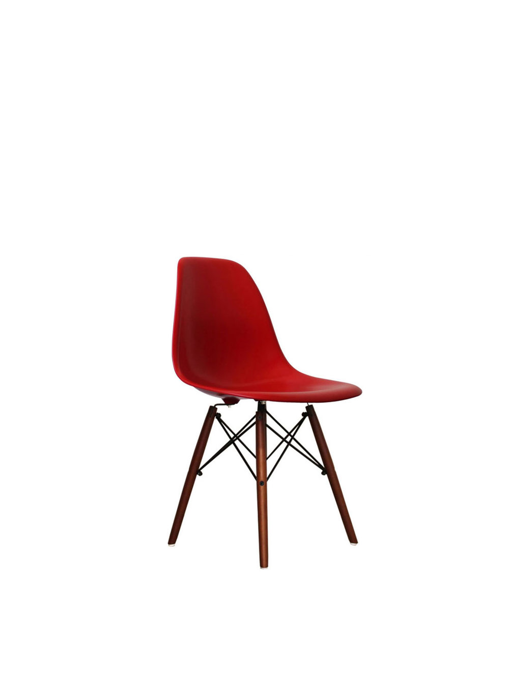 Red Eames Style DSW Chair With Walnut Legs (Ireland Exclusive)