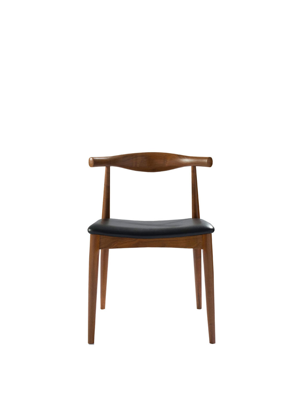 Hans Wegner Style Elbow Walnut Chair With Premium Black Leather Square Seat  (Ireland Exclusive)