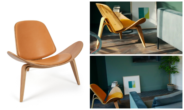 The Wegner-style Shell chair in tan leather  SHOP HERE